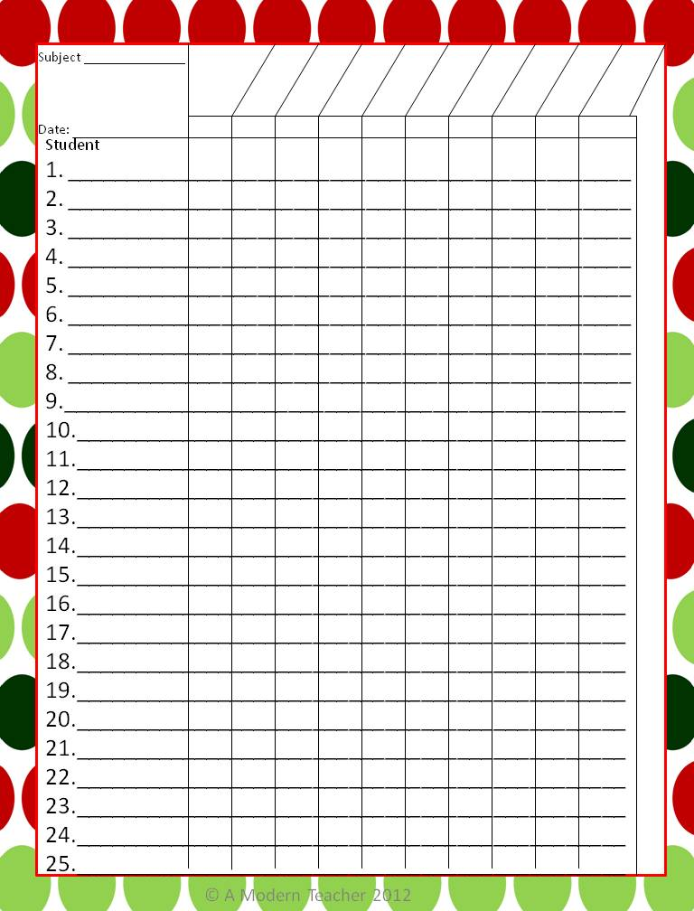 Printable Teacher Grade Book Template | Rachael Edwards