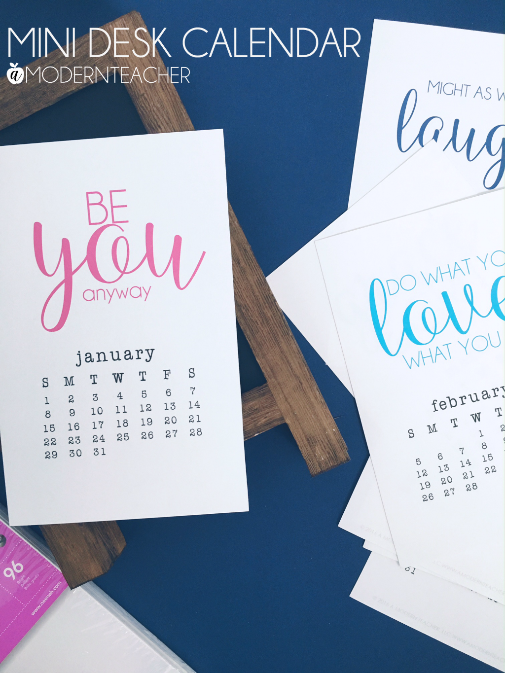 Mini Desk Calendar 2017 Printable